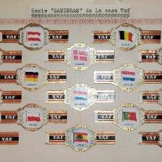 Vitolas de colección: 21 VITOLAS ANTIGUAS SERIE BANDERAS CASA TAF ORIGINALES. Lote 269448343