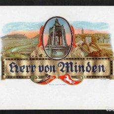 Vitolas de colección: VITOLA, ORIGINAL LITOGRAFÍA. HERR VON MINDEN. TEMÁTICA: VISTA DE MINDEN (ALEMANIA).. Lote 277713833
