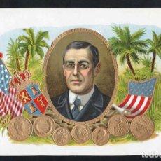 Vitolas de colección: VITOLA, ORIGINAL LITOGRAFÍA. W. WILSON (1856-1924). TEMÁTICA: PRESIDENTE ESTADOS UNIDOS.. Lote 277715098