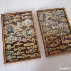 Vitolas de colección: LOTE DE 2 CUADROS CON LÁMINAS DE VÍTOLAS, ENMARCADOS EN MADERA CON CRISTAL, UNOS 30 X 20 CMS.. Lote 282175848