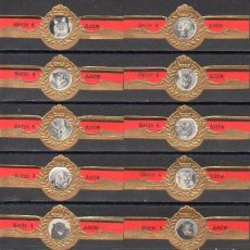Bagues de cigare de collection: A.N.T.W. FAUNA, SERIE 4ª, NEGRO, 10 VITOLAS, SERIE COMPLETA.. Lote 283911253