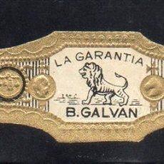 Vitolas de colección: VITOLA CLASICA: 121046, TEMA FAUNA, FELIDOS, B. GALVAN, LA GARANTIA, ISLAS CANARIAS (MEDIANA). Lote 288324938