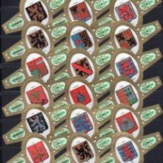 Vitolas de colección: STOMPKOP, ESCUDOS DE BELGICA, GRAN FORMATO, VERDE, 18 VITOLINAS, SERIE COMPLETA.. Lote 295270503