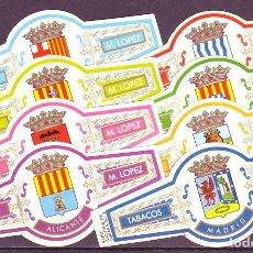 Vitolas de colección: LOPEZ M. ESCUDOS DE PROVINCIAS, 8 VITOLINAS, SERIE COMPLETA.. Lote 295272193