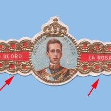 Vitolas de colección: VITOLA MUY ANTIGUA (AÑOS 1900S) MEXICANA - MARCA LA ROSA DE ORO - RETRATO DE ALFONSO XIII. Lote 295898908