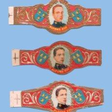 Vitolas de colección: 3 VITOLAS ANTIGUAS - SIN MARCA - PROCEDENCIA CANARIA - ALFONSO XIII. Lote 295900013