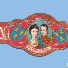 Vitolas de colección: VITOLA ANTIGUA - MARCA CANARIA FLOR DE RIO - REYES DE ESPAÑA - ALFONSO XIII Y VICTORIA EUGENIA. Lote 295900093