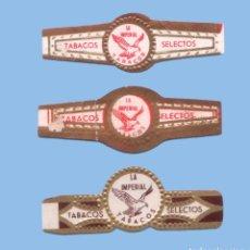 Vitolas de colección: 3 VITOLAS ANTIGUAS - MARCA CANARIA LA IMPERIAL - TEMATICA FAUNA - ÁGUILAS. Lote 295900563