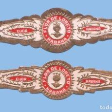 Vitolas de colección: 2 VITOLAS CUBANAS ANTIGUAS - MARCA FLOR DE LOBETO - TEMÁTICA MILITAR - YELMO. Lote 295904918