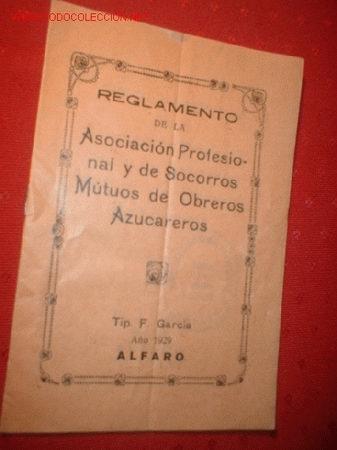 REGLAMENTO DE LA ASOCIACION PROFESIONAL Y DE SOCORROS MÚTUOS DE OBREROS AZUCAREROS. AÑO 1929. (Coleccionismo - Laminas, Programas y Otros Documentos)