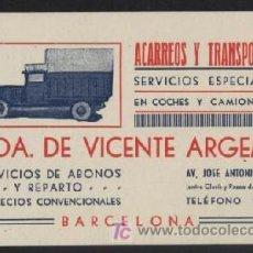 Coleccionismo: ACARREOS Y TRANSPORTES VIUDA DE VICENTE ARGEMI. BARCELONA, SIN FECHA, AÑOS 30?. Lote 27618125