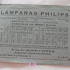 Coleccionismo: TARJETA COMERCIAL LAMPARAS PHILIPS RADIO CADIZ. Lote 26336546