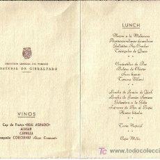 Coleccionismo: MENU LUNCH, AÑO 1961 HOSTERIA DE GIBRALFARO (MALAGA). Lote 25396674