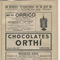 Coleccionismo: HOJA PUBLICITARIA DE CHOCOLATES ORTHI. TARRAGONA. 1929.. Lote 4347287