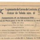 Coleccionismo: SERVICIO DE PLAZA - ORDEN DEL DÍA 27.2.1949. REGIMIENTO CARROS DE COMBATE ALCÁZAR DE TOLEDO NÚM. 61.. Lote 20386786