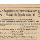 Coleccionismo: SERVICIO DE PLAZA - ORDEN DEL DÍA 18.4.1949. REGIMIENTO CARROS DE COMBATE ALCÁZAR DE TOLEDO NÚM. 61.. Lote 20386787
