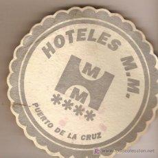 Coleccionismo: POSAVASOS DE HOTEL M.M, PUERTO DE LA CRUZ, STA. CRUZ DE TENERIFE.. Lote 5312773