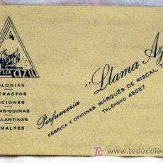 Collezionismo: TARJETA VISITA PERFUMERÍA LLAMA AZUL MARQUÉS RISCAL MADRID LOCIONES PERFUMES ESMALTES RHUMS QUINAS. Lote 5355398
