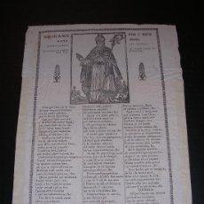 Coleccionismo - GOIGS SANT PONS VENERA IGLESIA HOSPITAL GENERAL DE SANTA CREU BARCELONA.1845 BARCELONA - 6201318