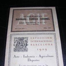 Sammelleidenschaft Papier - ITINERARIO BARCELONA - TARRASA - SABADELL, GUIAS , ITINERARIO NUM 1 , 1928,EXPOSICION BARCELONA 1929 - 7183445