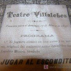 Coleccionismo: CARTEL TEATRO VILLALOBOS AÑO 1895. Lote 27564214