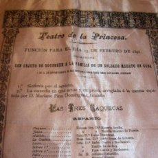 Coleccionismo: CARTEL DE TEATRO AÑO 1896 TEATRO DE LA PRINCESA ( ACTUALMENTE MARIA GUERRERO). Lote 27564210