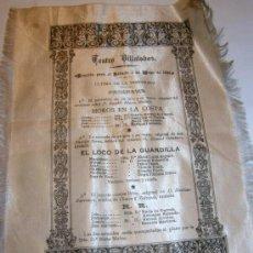 Coleccionismo: CARTEL DE SEDA DE TEATRO AÑO 1895. Lote 27591082