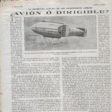 Coleccionismo: HOJA NOTICIA. 1919. AVION. DIRIGIBLE. HELIO. AVION O DIRIGIBLE .. Lote 7412271