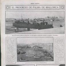 Coleccionismo: HOJA NOTICIA. AÑO 1913. EL PROGRESO DE PALMA DE MALLORCA. REAL CLUB DE REGATAS. PUERTO DE SOLLER. . Lote 7617041
