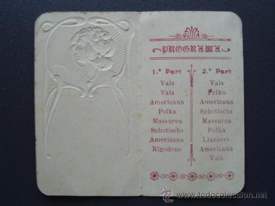 Coleccionismo: PROGRAMA DE BAILE MODERNISTA de 1908 - FESTA DE LAS ENRAMADAS - VILASSAR DE MAR - Foto 2 - 26737420