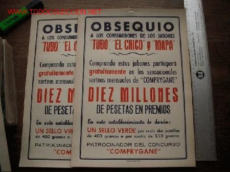 2 CARTELES DE PROPAGANDA DE JABONES (Coleccionismos - Varios)