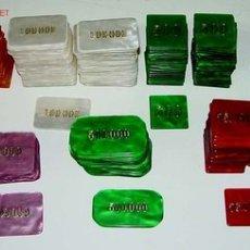 Coleccionismo: ANTIGUO LOTE DE FICHAS PROFESIONALES DE CASINO - HAY 50 FICHAS DE 500 PESETAS, 50 FICHAS DE 1.000 PE. Lote 27136232
