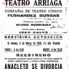 Coleccionismo: PROGRAMA DEL TEATRO ARRIAGA DE BILBAO. 3 DE MARZO DE 1939. GUERRA CIVIL ESPAÑOLA. III AÑO TRIUMFAL. Lote 15395445