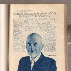 Coleccionismo: REPORTAJE.AÑO1933.TEATRO.JACINTO BENAVENTE.ARNICHES.ALVAREZ QUINTERO.EDUARDO MARQUINA.MUÑOZ SECA.. Lote 9762790