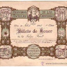 Coleccionismo: VALE ESCOLAR. BILLETE DE HONOR. COLEGIO LA SALLE. AÑO 1903. 19 X 14,5 CM. Lote 10023805