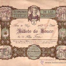 Coleccionismo: VALE ESCOLAR. BILLETE DE HONOR. COLEGIO LA SALLE. AÑO 1903. 19 X 14,5 CM. Lote 10024302
