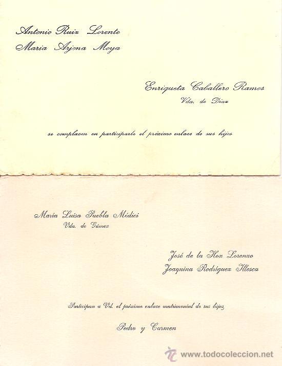 Dos Tarjetas De Invitacion De Boda Año 1962 Malaga Malaga Velex Benadalla Granada