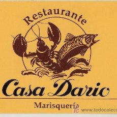 Coleccionismo: TARJETA COMERCIAL RESTAURANTE MARISQUERIA CASA DARIO BARCELONA. Lote 12023903