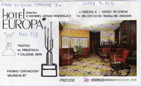 TARJETA COMERCIAL HOTEL EUROPA VALENCIA (Coleccionismo - Laminas, Programas y Otros Documentos)