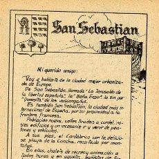Coleccionismo: SAN SEBASTIAN 1940 VIAJES POR ESPAÑA HOJA LIBRITO ESCOLAR. Lote 12756060