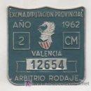 Coleccionismo: PLACA METÁLICA. MATRÍCULA. EXCMA. DIPUTACIÓN PROVINCIAL, VALENCIA. AÑO 1962. ARBITRIO RODAJE. . Lote 12801798