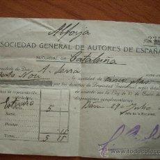 Coleccionismo: RECIBO DE LA SOCIEDAD GENERAL DE AUTORES, LA ALFORJA ,1935. Lote 19771698