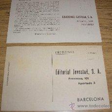 Coleccionismo: 2 TARJETAS POSTALES EDITORIAL JUVENTUD Y EDICIONES CASTILLA. Lote 13059071