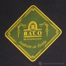 Coleccionismo: POSAVASOS DE BACO - RESTAURANTE BAR - SEVILLA - POSAVASO POSA VASO VASOS. Lote 14370916