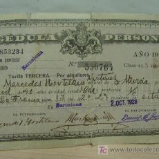 Coleccionismo: + CEDULA PERSONAL , BARCELONA AÑO 1928. Lote 14701148