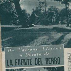 Coleccionismo: RECORTE DE PRENSA. AÑO 1953. LA QUINTA DE LA FUENTE DEL BERRO. MADRID. MARQUES DE PERALES.. Lote 14799457