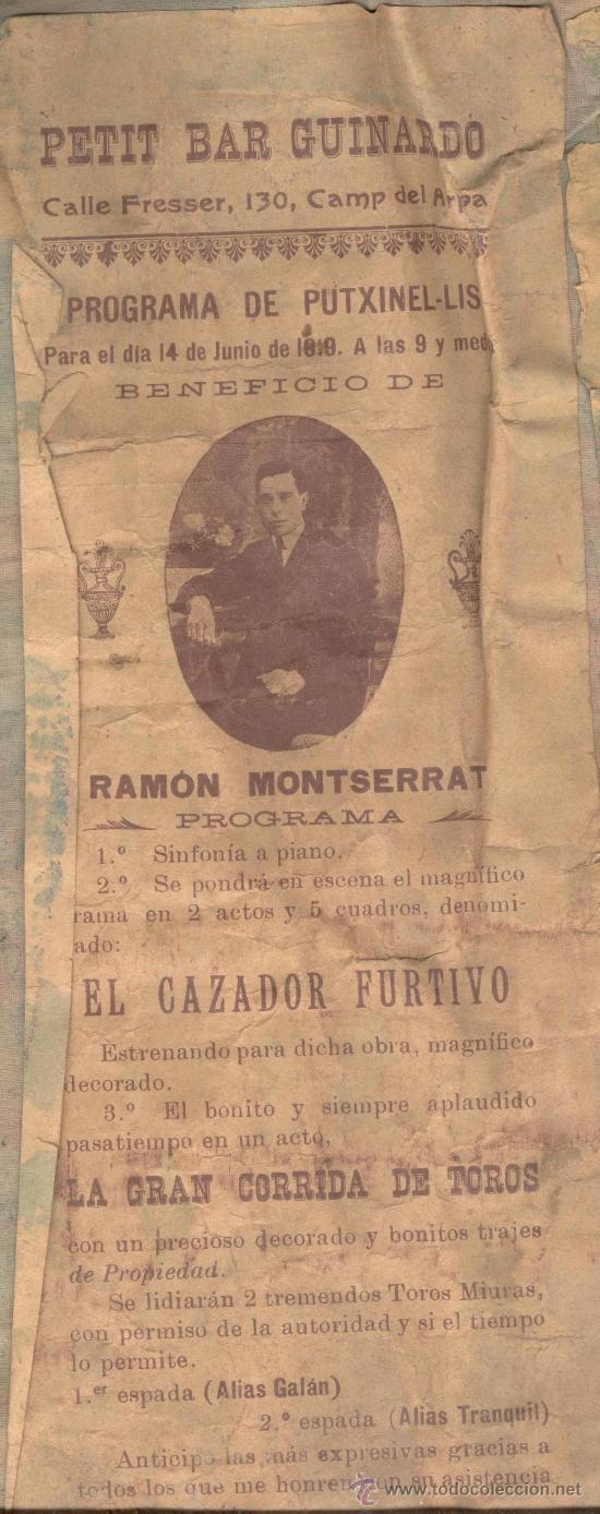 PROGRAMA TITELLAIRE TITIRITERO RAMON MONTSERRAT TITELLA PUTXINEL.LIS TITERE MARIONETAS (Coleccionismo - Laminas, Programas y Otros Documentos)