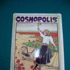 Coleccionismo: REPRODUCCION CHAPA ANUNCIO DE PUBLICIDAD DE CYCLOS COSMOPOLIS. Lote 26922337
