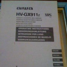 Coleccionismo: MANUAL DE USUARIO DE VIDEO-CASSETTE RECORDER VHS AIWA HV-GX911Z. EN 5 IDIOMAS.. Lote 15836677
