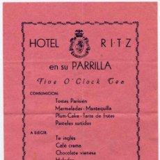 Coleccionismo: MENU FIVE O´CLOCK TEA DEL HOTEL RITZ DE BARCELONA. Lote 15939238